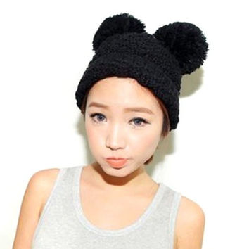 LOCOMO Men Women Boy Girl Cute Mickey Mouse Ear Knit Beanie Hat Cap FAF027 Black