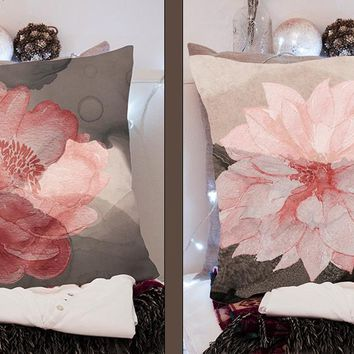 Coral Pink and Black Romantic Watercolor Floral Throw Pillow Series