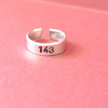 143 Hand Stamped Cuff Ring Adjustable Shiny Silver Gift Friend Sister Mother Daughter Aluminum I Love You Personalized Custom Boyfriend