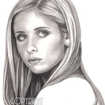 Sarah Michelle Gellar, Buffy the Vampire Slayer, Pencil Drawing, Portrait, 8x10 Art Print, by Wendy Hogue Berry