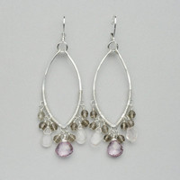 Pink Topaz Chandelier Earrings