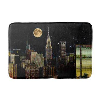 New York Skyline At Night With Full Moon Bathroom Mat