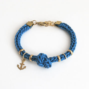 Anchor bracelet with knot, dark teal bracelet with anchor charm and rings, nautical bracelet made from knit cord