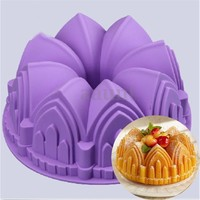 Crown Bundt Ring Cake Bread Pastry Silicone Mold Pan Bakeware Tray Mould Tool