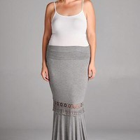 Plus Size Lola Lace Trim Maxi Skirt