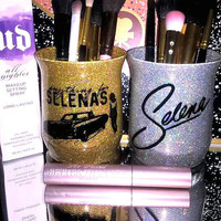 2PC set Selena Quintanilla Anything For Selenas Makeup Brush Holders - YOU CUSTOMIZE!