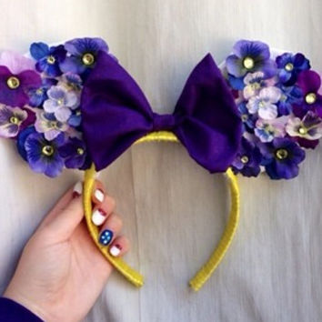 Purple Floral Mouse Ears