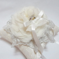 Wedding ring pillow Romantic Cream Bloom and Silver Lace on Ivory Lace Ring Pillow