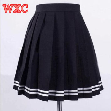 Japanese High Waist Pleated Skirts Anime Cosplay School Uniform JK Student Girls Solid Pleated Skirt Girls WXC