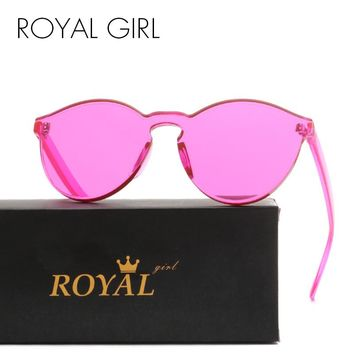 ROYAL GIRL Top Quality Transparent Glasses Round frame Candy
