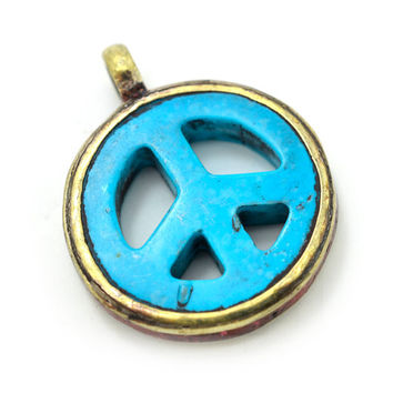 Turquoise Peace Sign Pendant,  26  mm, 5mm Loop,   Brass Metal Tibetan Pendant