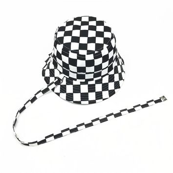 2017 cotton Black and white lattice bucket hat Fisherman hat Sun cap hats for men and women 28