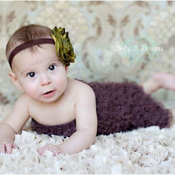 Baby Girl headband by Baby K Designs, Baby Hair Clip Barrette,Newborn Olive Green Flower, Baby Bows, Newborn Headband, Newborn Bow,Hair Clip