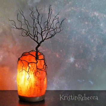 Wire Tree Sculpture and Himalayan Salt Lamp Tree of Life Lighted Rock