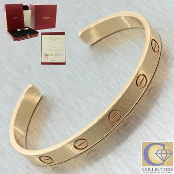Unworn 2017 Cartier 18K Rose Gold Love Cuff Bangle Bracelet Sz16 Box Papers