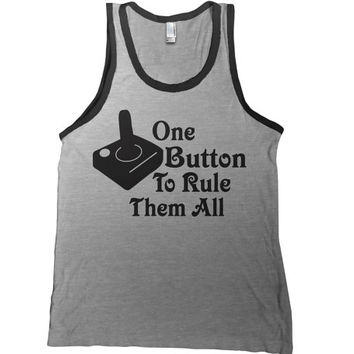 One Button To Rule Them All Mens Tank Top - gamer 80's t-shirt atari tee vintage tshirt nerd tee geek funny adult youth sizes
