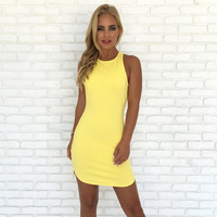 Full Control Bodycon Dress In Yellow