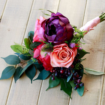 Plum and Burgundy Silk Bridesmaid Bouquet
