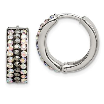 925 Sterling Silver Grey & Rainbow Preciosa Crystal Hinged Hoop Earrings