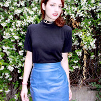 Bright Cobalt Blue Leather Pencil Skirt - Vintage 1980s, Great Condition, Size 4 / Small, High Waist Mini Skirt - Awesome Preppy Punk Style