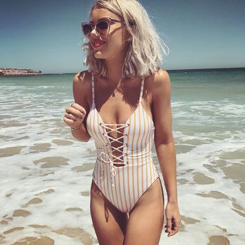 Comfortable Summer High Quality Sexy Ladies Print Stripes Swimwear [1975308779617]
