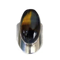 Santos Sterling Ring, Taxco Mexico, 925 Silver, Tigers Eye, Modernist, Vintage Jewelry