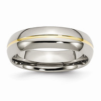 Men's Titanium Yellow IP-plated Grooved Polished Wedding Band Ring: RingSize: 8.5