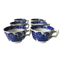 Vintage Woods of England Blue Willow Cups - S/6