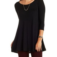 Three-Quarter Sleeve Swing Tunic Tee by Charlotte Russe