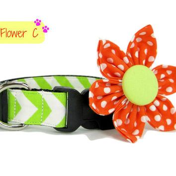 Dog Collar with Flower set- Chevron Green and White Print ((Mini,X-Small,Small,Medium ,Large or X-Large Size)- Adjustable
