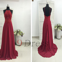 New Burgundy Beading Straps Long Prom Dress Bridesmaid Dress Hot Party Dress Evening Dress Homecoming Dress Holiday Dress Formal Dress