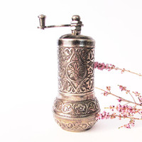 Turkish coffee GRINDER cylinder.Hand mill,Salt, PEPPER, spice grinding. Rustic kitchen shelf decor,