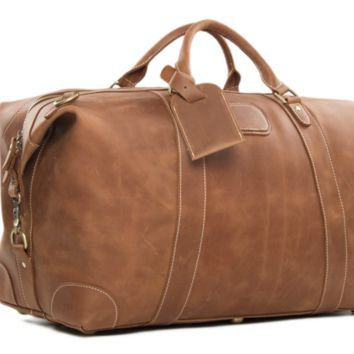 MSL - HANDCRAFTED VINTAGE STYLE TOP GRAIN CALFSKIN LEATHER TRAVEL BAG, DUFFLE BAG HOLDALL LUGGAGE