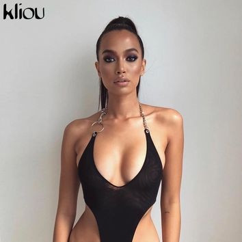 fbd522bff4f Kliou women sexy mesh material halter bodysuit 2019 new arrival