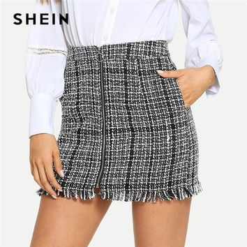SHEIN Black and White Plaid Zip Front Frayed Tweed Skirt Elegant Fringe Pocket Mid Waist Pencil Skirts Women Mini Skirts
