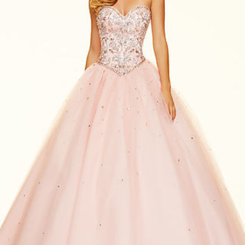 Strapless Beaded Ball Gown Style Mori Lee Prom Dress ML-98006