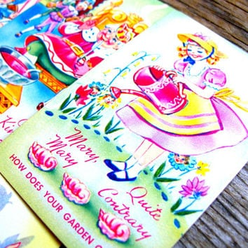 Vintage Nursery Rhyme Cards - Mother Goose Cards - Little Bo Peep -  Old King Cole - Swap Cards