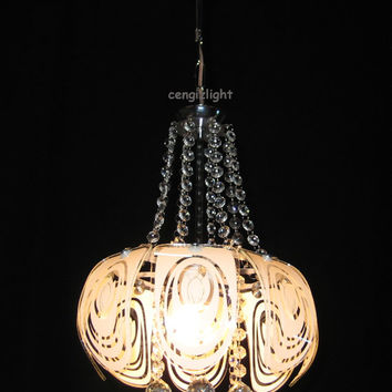Hand Painted Silk Screen Glass Crystal Pendant Lamp Ceiling Light Chandelier