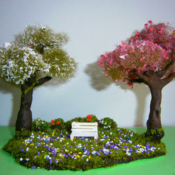 miniature tree diorama , spring trees in flowered park
