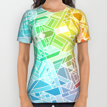 BRIGHT VIBRANT GRADIENT GEOMETRIC SHAPES RAINBOW PRINT TILED MOSAIC TIE DYE COLORFUL All Over Print Shirt by AEJ Design