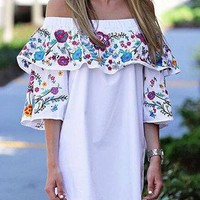 White Off Shoulder Layered  3/4 Sleeve Embroidered Mini Dress