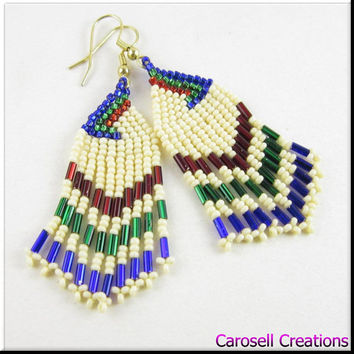 Native American Style Beadwork Dangle Seed Bead Earrings in Red Blue and Green