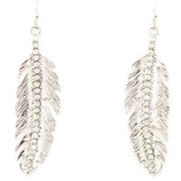 Rhinestone Encrusted Etched Feather Earrings - Silver