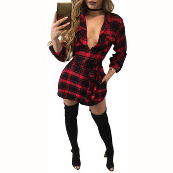 Casual Fashion Plaid Women Autumn Winter Dress Long Sleeve Deep V-neck Sexy Office Work Dresses Bandage Slim Shirt Dress