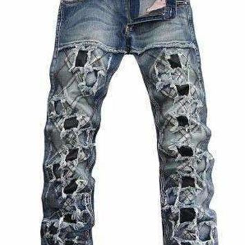 VONE05F8 unique ddesign jeans europe and americanMens punk style slim hole jeans male personality patchwork denim trousers