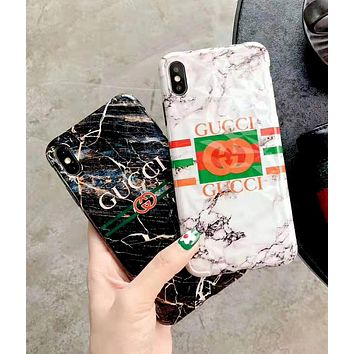 GUCCI 2019 new marble iPhoneXS MAX mobile phone case cover