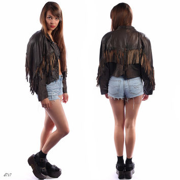 90s Fringed Leather Jacket . Biker FRINGE Crop Western Grunge Easy Rider Women Heavy Metal Original Brown Hippie . sz Small to Medium