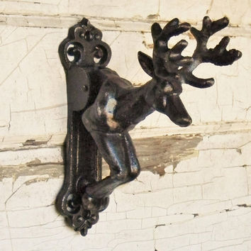 Deer Door Knocker,Cast Iron Door Knocker,Rustic Door Knocker, Lodge Door Knocker,Stag Door Knocker,Lodge Door Decor,Cabin Door Knocker