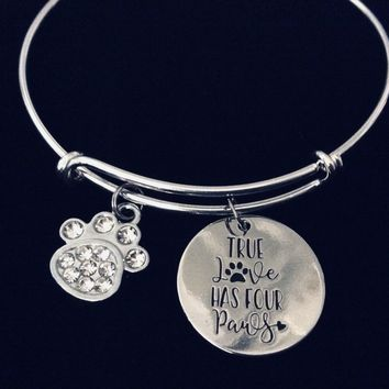 True Love Has Four Paws Adjustable Charm Bracelet Expandable Silver Bangle One Size Fits All Gift Crystal Cat Dog Paw Print Pet Lover Jewelry