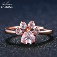 Puppy Paw 5mm Natural Pink Rose Quartz Ring - Sterling Silver